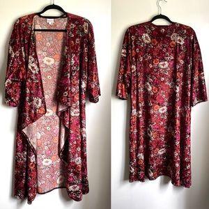 EUC LulaRoe Velvet Floral Kimono Burgundy Large